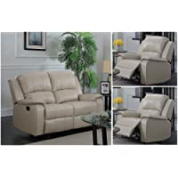 Beige Taupe Reclining 3 Seater Sofa 2 Seater Recliner Armchair Sofa Suite JENSON