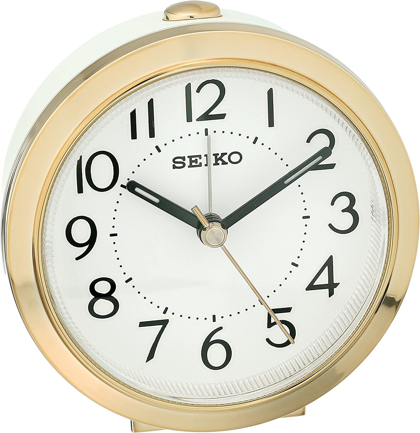 alarm clock with two tone case sweep second hand luminous hands