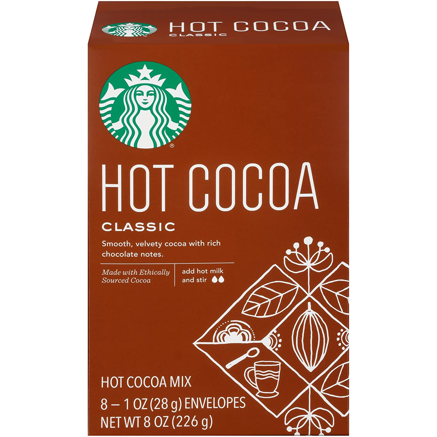 Starbucks 1oz Packets, 8-count, Classic Hot Cocoa Mix, Pack of 3
