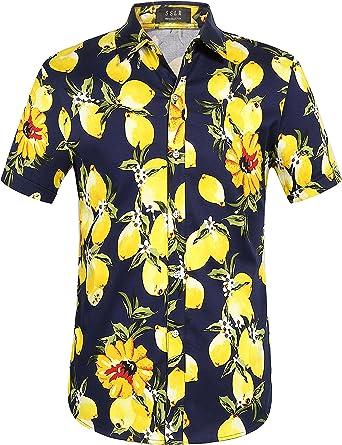 SSLR Camisas Hawaianas Hombre Manga Corta Algodón de Limón: Amazon ...