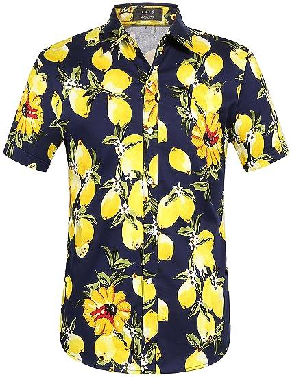 SSLR Camisas Hawaianas Hombre Manga Corta Algodón de Limón (X ...