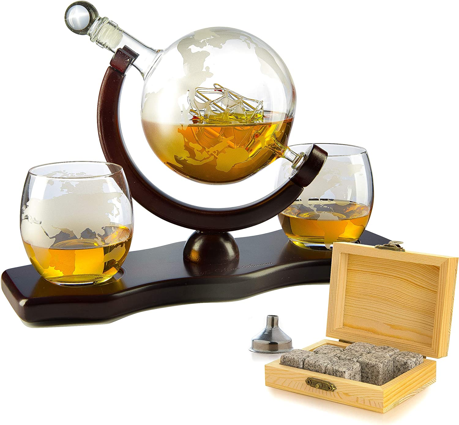 Whiskey Decanter Set Globe With 2 Etched Globe Whisky Glasses Comes With Whiskey Stones For Whiskey Scotch Bourbon 850ml Liquor Decanters