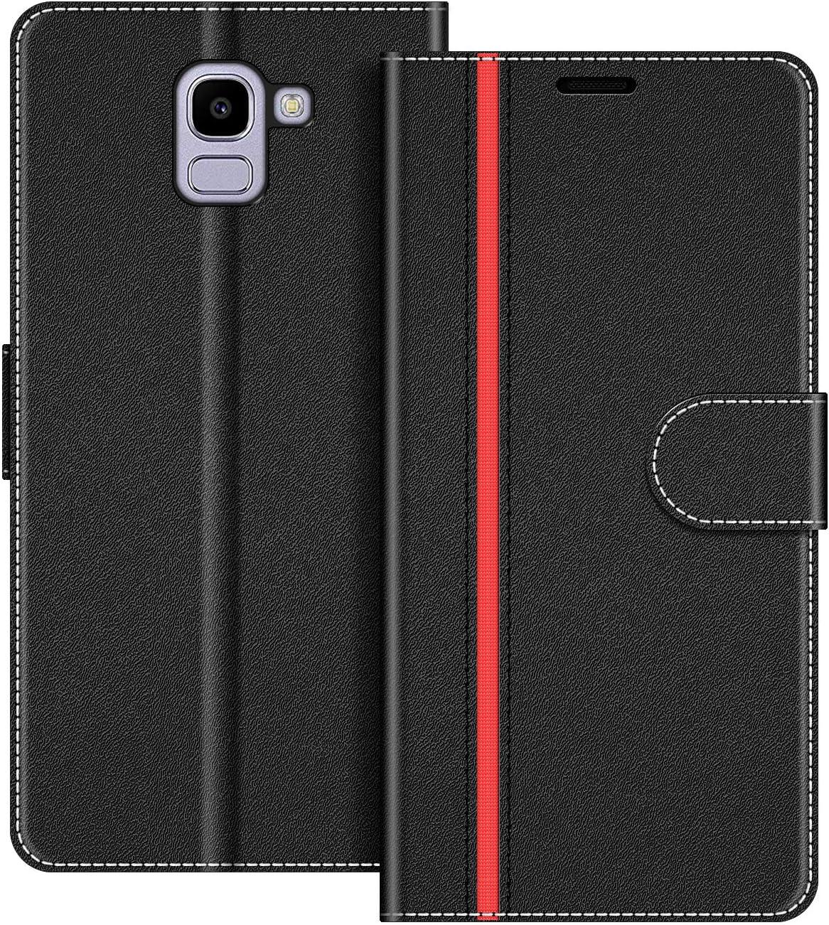COODIO Funda Samsung Galaxy J6 2018 con Tapa, Funda Movil Samsung J6 2018, Funda Libro Galaxy J6 2018 Carcasa Magnético Funda para Samsung Galaxy J6 2018, Negro/Rojo