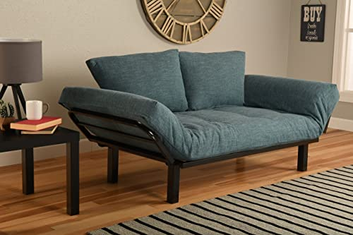 Best Futon Lounger Sit Lounge Sleep Smaller Size Furniture is Perfect for College Dorm Bedroom Studio Apartment Guest Room Covered Patio Porch Aqua Linen