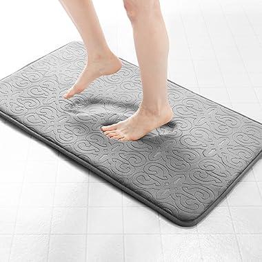 Genteele Memory Foam Bathroom Rugs Non-Slip Absorbent Bath Mat Rug Carpet, Machine Wash and Dry, Embossed Soft Velvet Plush Surface (17  X 24 , Gray)