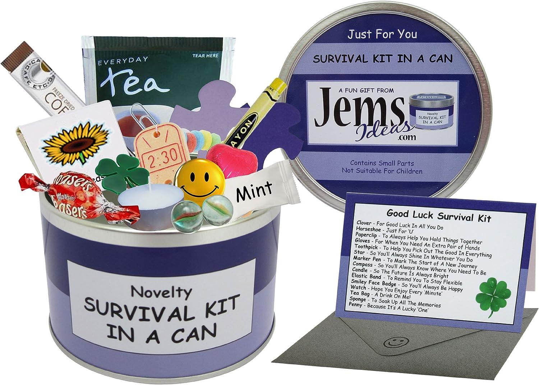 Kit de Supervivencia buena suerte en una lata. Humorística de la novedad de la diversión del regalo - Presente y tarjeta todo en uno. Nuevo trabajo, Dejar, emigrar, alejándose etc. modifique su color