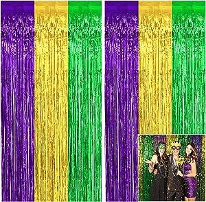 Tifeson Mardi Gras Metallic Foil Fringe Curtain Backdrop - 2 PCS 3.2