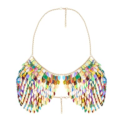 e4a03aca50786 Amazon.com  lan27 Sexy Body Chain Fashion Sequins Bikini Bling Shoulder Necklaces  Bra Body Jewelry Summer Beach Party Women Harness  Jewelry