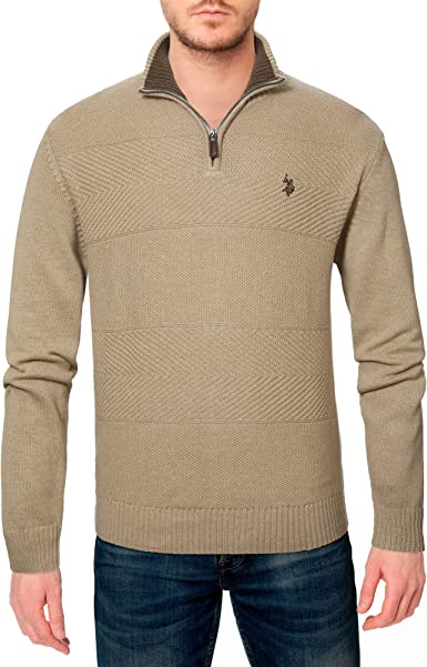 Polo Assn Mens 1//4 Zip Neck Knit Jumper Casual Knitted Pullover Sweater Top U.S