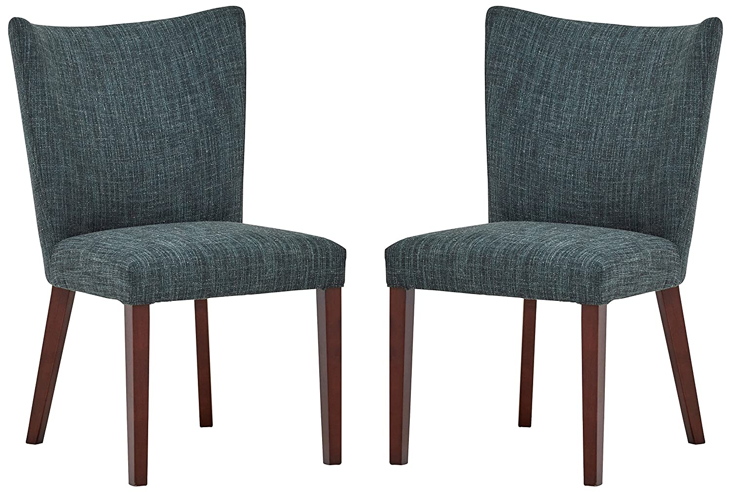 Amazon com rivet tina modern 2 pack curved back dining chairs 36h marine blue chairs