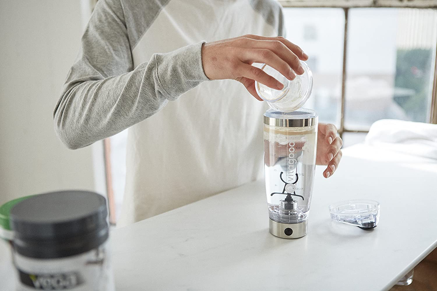USB Rechargeable Leakproof and BPA-Free Construction 600ml Vitagoods FitMix Pro Portable Electronic Mixer Shaker Bottle Silver