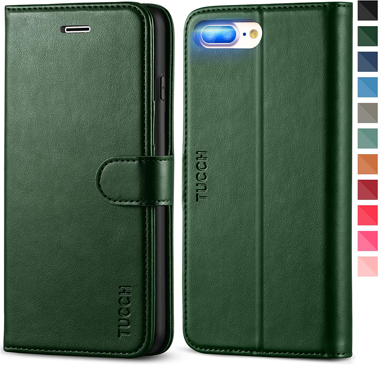TUCCH iPhone 8 Plus Wallet Case, iPhone 7 Plus PU Leather Case, Folio Kickstand Cover with Card Slot Magnetic Flip Protective TPU Interior Case Compatible with iPhone 8 Plus/7 Plus, Midnight Green