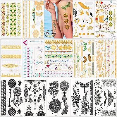 Tatouages temporaires pour femmes enfants fille (15 feuilles), Konsait Tatouages Temporaires Tattoos Éphémères Dorés Autocollants bras poitrine Métalliques Tattoos, 200 + Design en or noir a