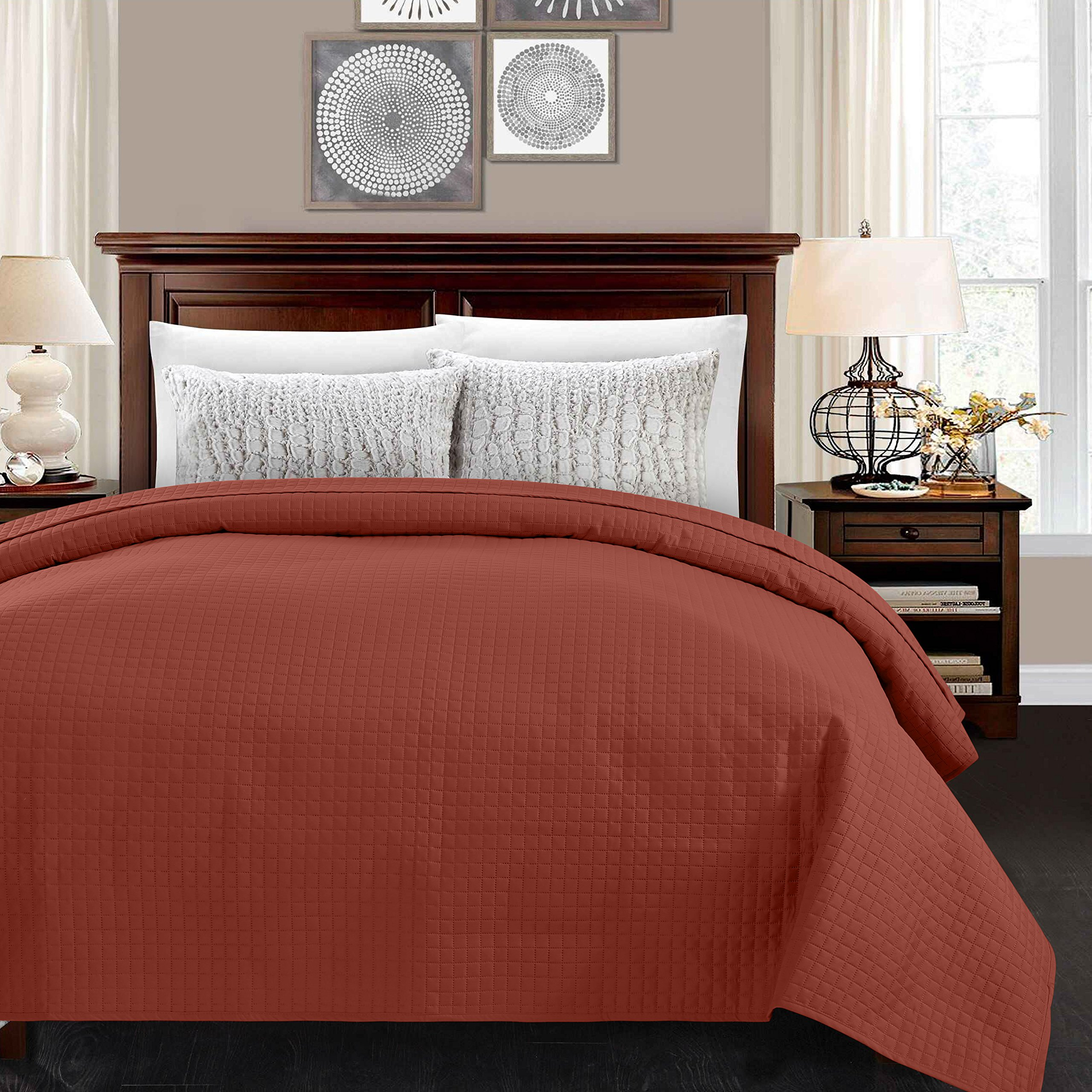 ALPHA HOME Quilted Bed Quilt Bedspread Coverlet Bed Cover Light Weight Luxury Checkered Pattern - Chocolate, Queen
