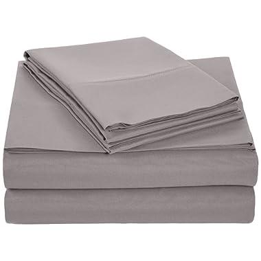 AmazonBasics Microfiber Sheet Set, Cal King, Dark Grey