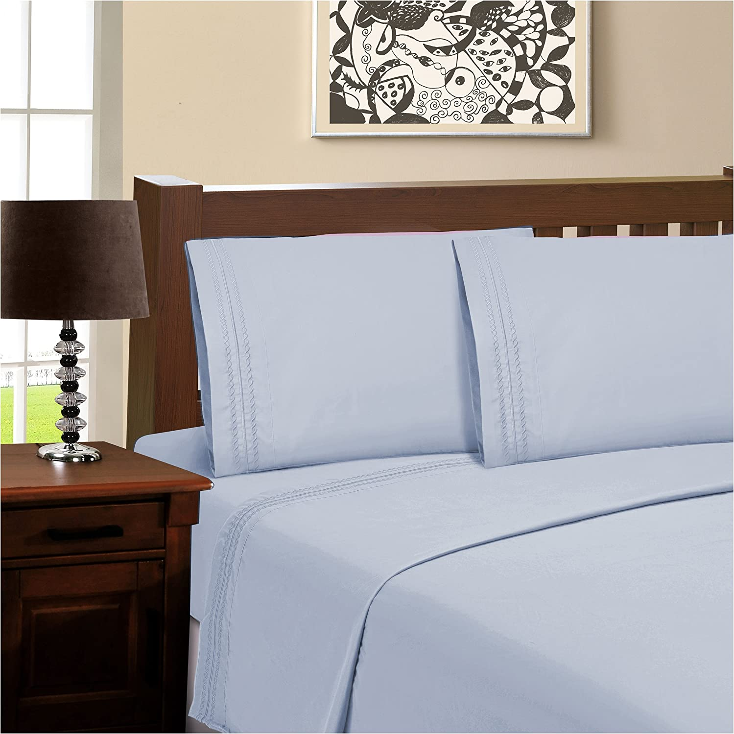 SUPERIOR 100% Brushed Microfiber Wrinkle Resistant Full Sheet Set, 4-Piece, Light Blue