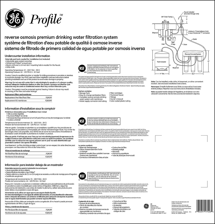 General Electric pxrq15rbl perfil serie Premium de ósmosis inversa sistema de filtración de agua: Amazon.es: Bricolaje y herramientas