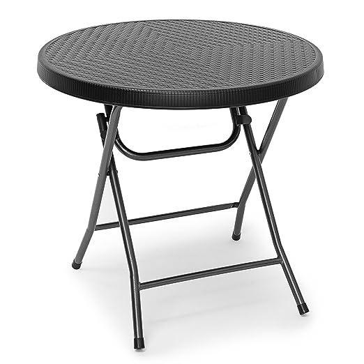 Negro efecto mimbre redonda plegable Bistro – mesa plegable diseño ...