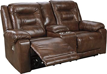 Signature Design by Ashley U15 Ashley Furniture Golstone Power  Reclining Loveseat with Console Canyon