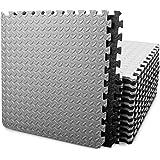 BEAUTYOVO Puzzle Exercise Mat with 12/24 Tiles Interlocking Foam Gym Mats, 24'' x 24'' EVA Foam Floor Tiles, Protective Floor