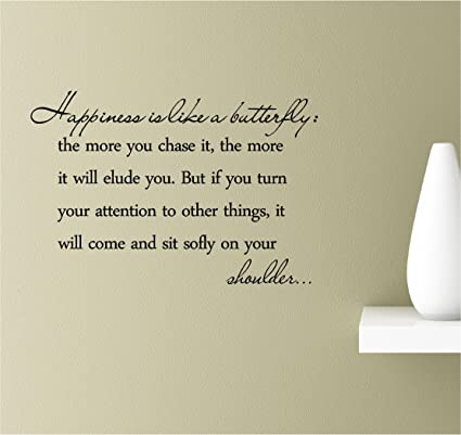 Happiness Is Like A Butterfly Quote Vinyl Wall Art Sticker Decal