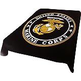 Brand New! 5 Pounds! Marine Corps Soft Queen Korean Style Mink Blanket (black)