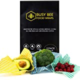 Bees Wax food Wraps 5 Pack, Eco Friendly Reusable Food Wraps, Sustainable Plastic Free Food Storage - 2 Small, 2 Medium, 1 Large By Busy Bee