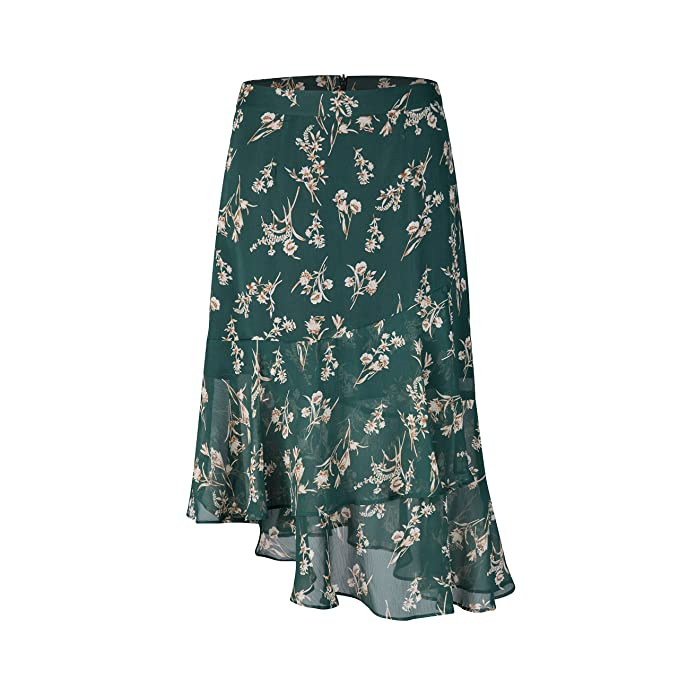1920s Skirt History Tronjori Womens A Line Floral Print Midi Skirt Flared Hem  AT vintagedancer.com