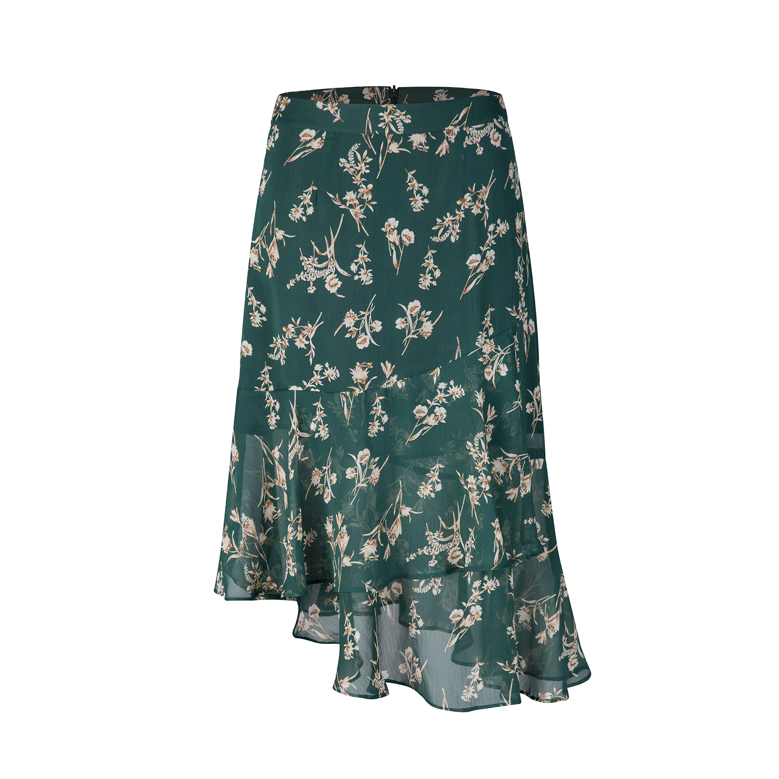 Tronjori Womens A Line Floral Print Skirt Flared Hem (S, Greeen Floral)