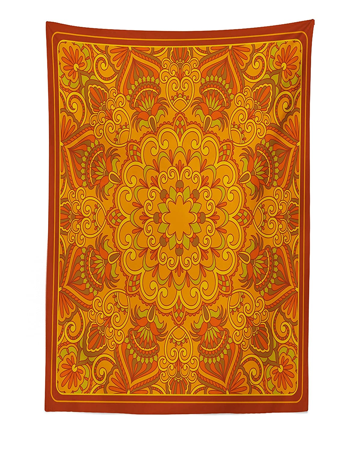 """Lunarable Ethnic Tapestry, Middle Eastern Old Fashioned Carpet Pattern Inspired Retro Oriental Image, Fabric Wall Hanging Decor for Bedroom Living Room Dorm, 30"""" X 45"""", Marigold Orange"""