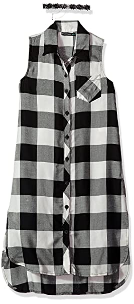 811d2fec1e Amazon.com  My Michelle Girls  Big High Low Plaid Dress  Clothing