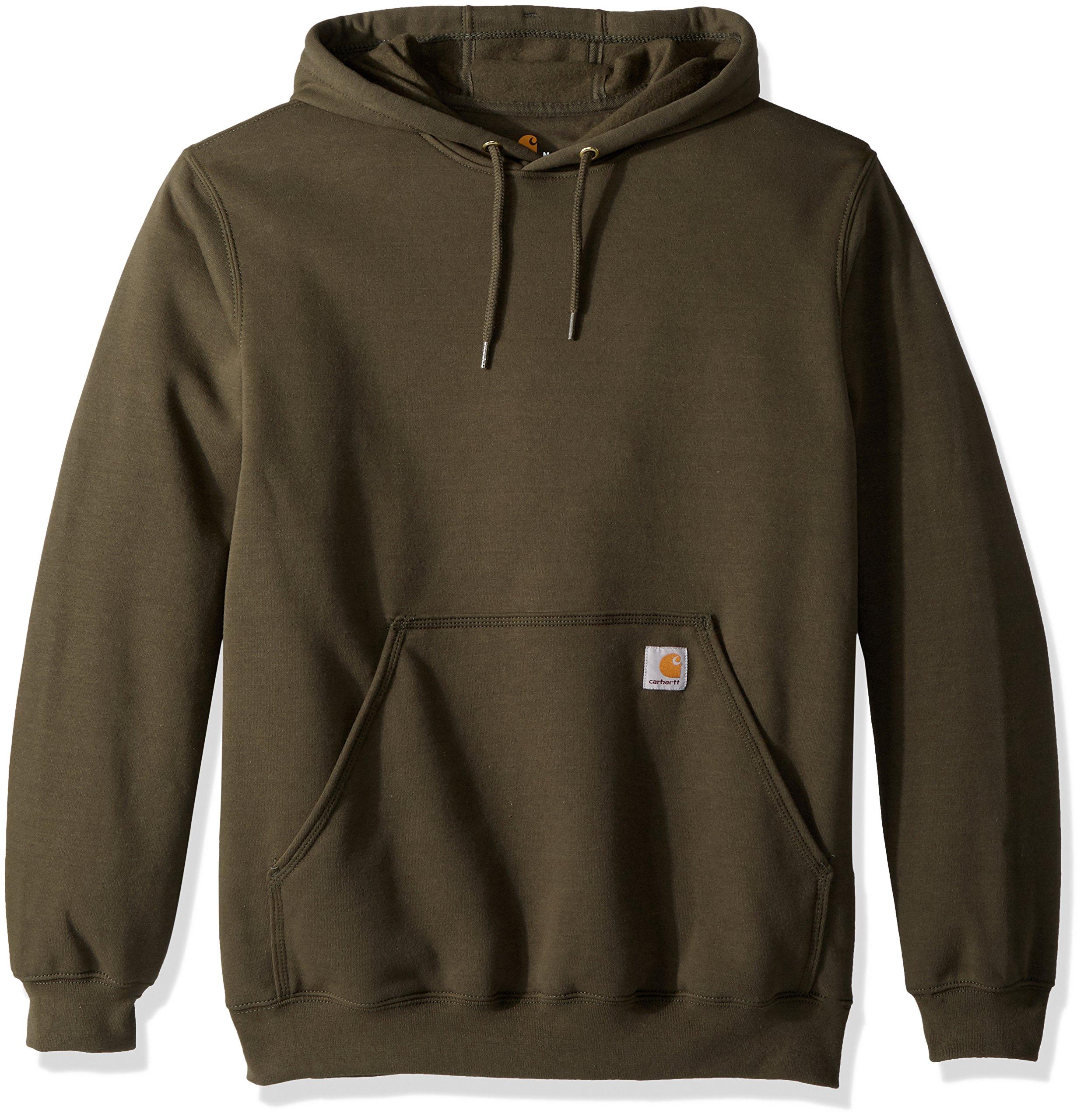 Carhartt Men's Midweight Original Fit Hooded Pullover Sweatshirt K121, Moss, Small
