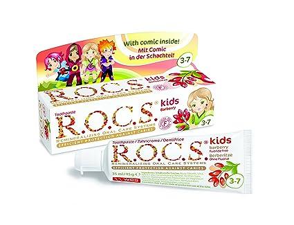 Dentífrico R.O.C.S. Kids Agracejo con sabor a agracejo. Sin flúor. / ROCS