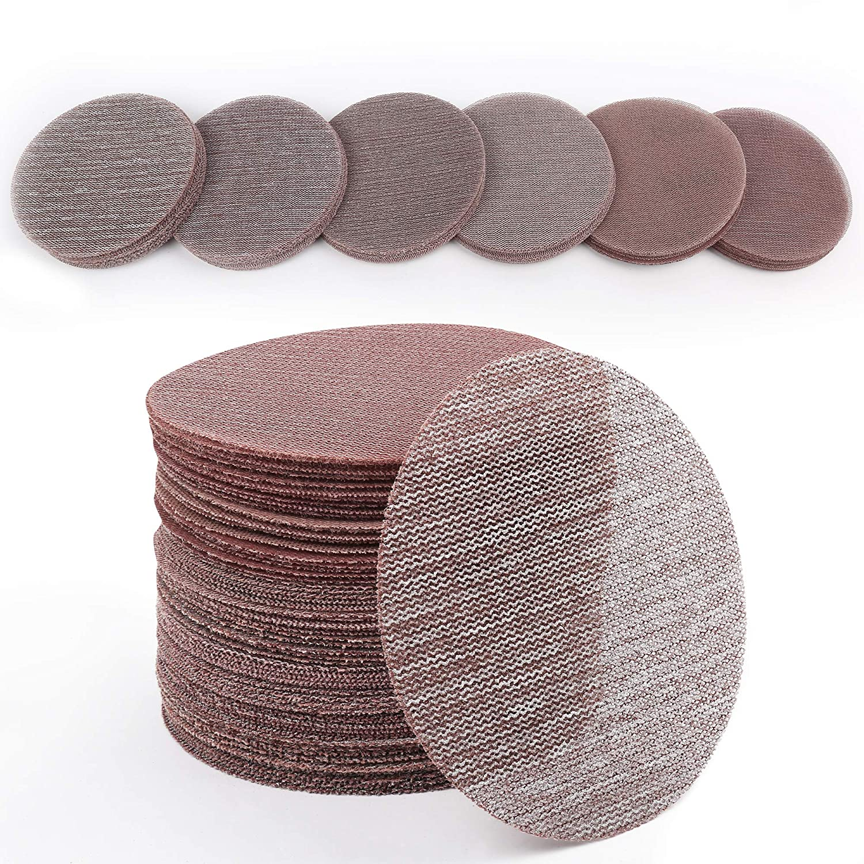 30PCS 60 80 120 180 240 320 Grit Dust Free Sandpaper Assortment for Car LotFancy 5 Inch Mesh Abrasive Sanding Discs Hook and Loop Random Orbital Sander Round Sand Paper Woodworking