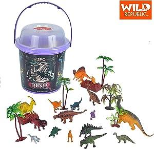 Wild Republic Dinosaur Bucket, Dinosaur Animal Figurines Set, T Rex, Triceratops, Velociraptor, Spinosaurus, Stegosaurus & More, 23 Piece Set