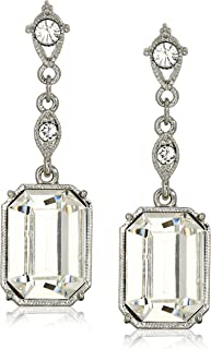product image for 1928 Jewelry Silver-Tone Genuine Swarovski Elements Octagon Drop Earrings