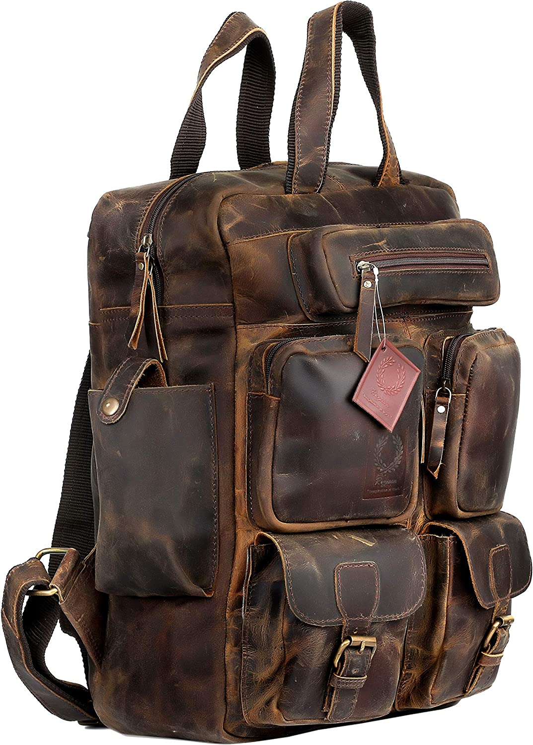 Genuine Leather Backpack for Man with 2 Side Pockets Color Black