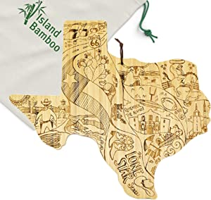 Island Bamboo USA Texas State Shaped Cutting Board - Great for Kitchen Decor, Cheese Server, Personalized Charcuterie Board, Serving Platter, or Gifts for the Home with Canvas Bag