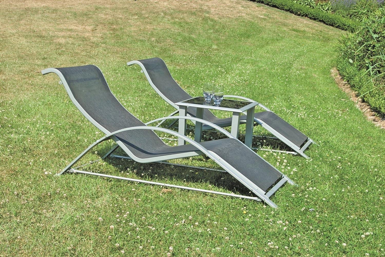Benelando Sonnenliegen-Set - Zwei Sonnenliegen und ein Tisch