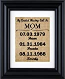 """Amazon Price History for:""""My Greatest Blessings Call Me - Mom"""" - Mom Gift from kids, Personalised Gift for mom, Mothers day burlap gifts, gift from children- burlap print-2B(Frame not included)"""