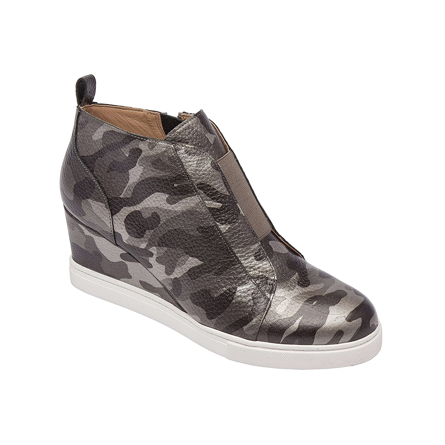 Felicia | Women's Platform Wedge Bootie Sneaker Leather Or Suede B07F6TT1HP 11 M US|Dark Grey Print Leather