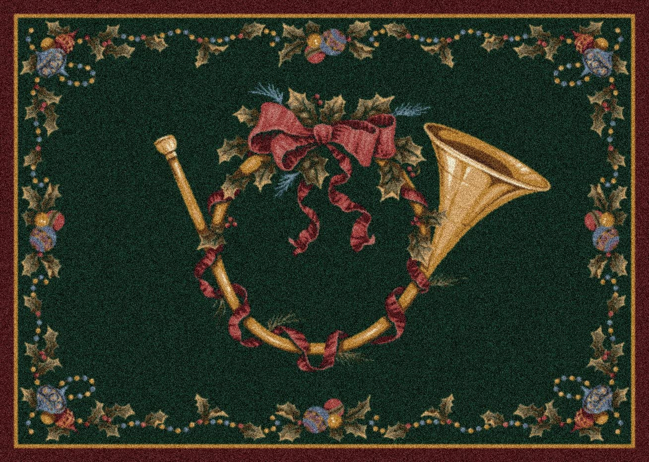 Milliken Holiday Collection French Horn, 5 4 X7 8 Rectangle, Garland