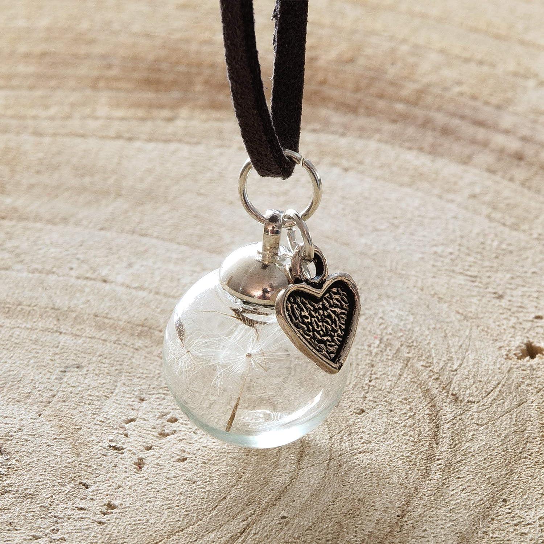 Kette - Pusteblume - Löwenzahn - Wildlederband grau - Halskette 70 cm - Kettenlänge optional wählbar - Handgemacht
