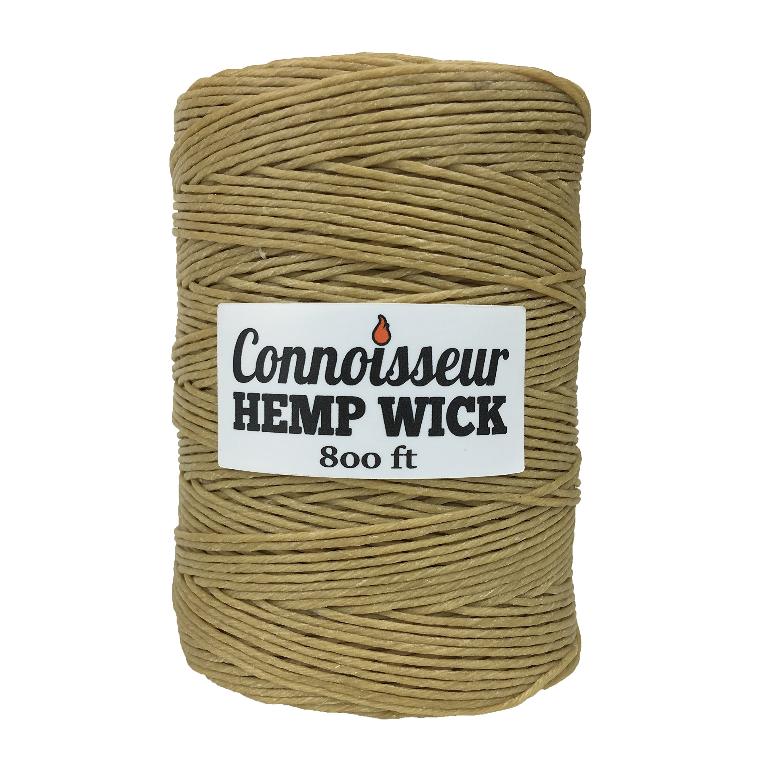 Natural Hemp Wick Spool (800 FT) Natural Beeswax Coating | Slow Burn, Long-Lasting Refill | DIY Tea Lights, Candle Making, Tapers | Standard Dispenser Use | 1.0mm