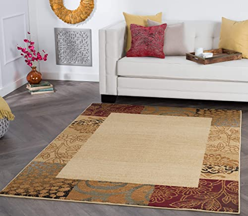 Sedona Transitional Floral Beige Rectangle Area Rug, 9 x 12.6