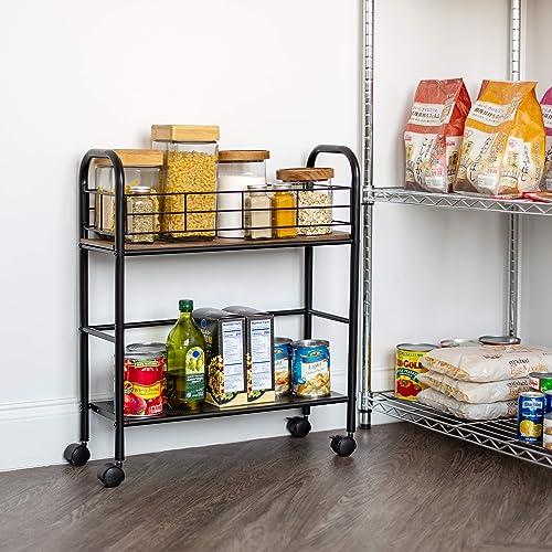 IRIS USA SC-N Slim Wood and Metal Rolling Storage Cart