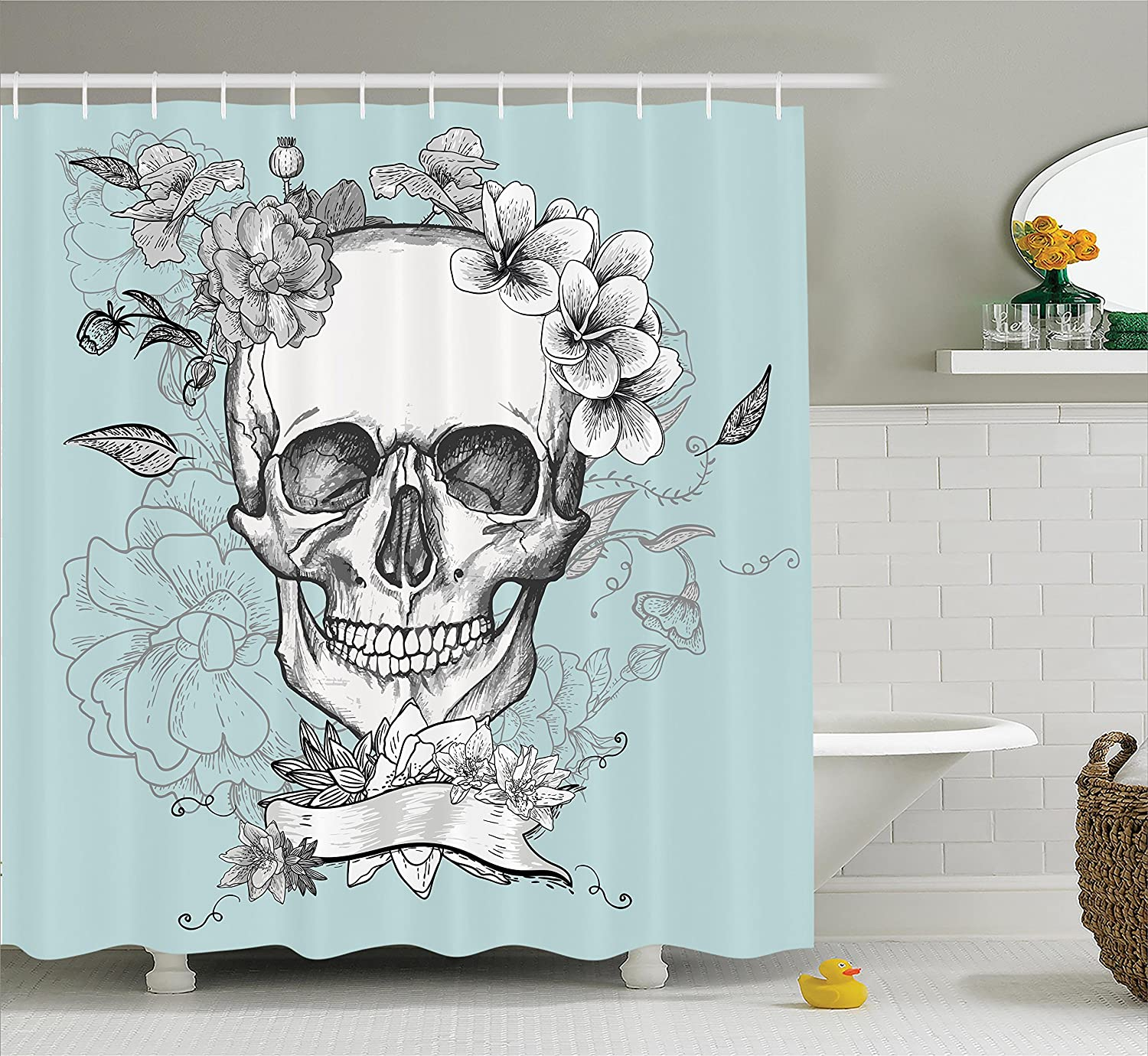 Amazon.com: Ambesonne Grunge Home Decor Shower Curtain Set, Skull ...