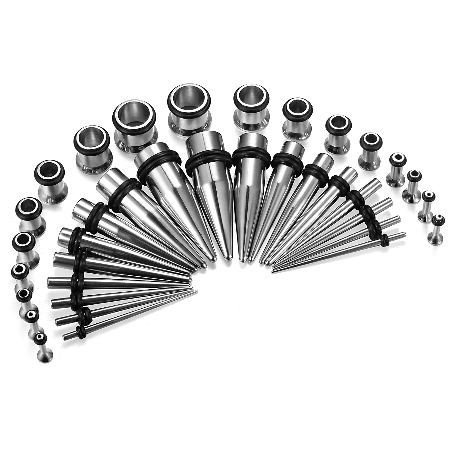 ORAZIO 16-36 PCS Stainless Steel Ear Stretching Taper and Tunnel Set -14G to 00 Gauge Silver Tone CC05S-ES36