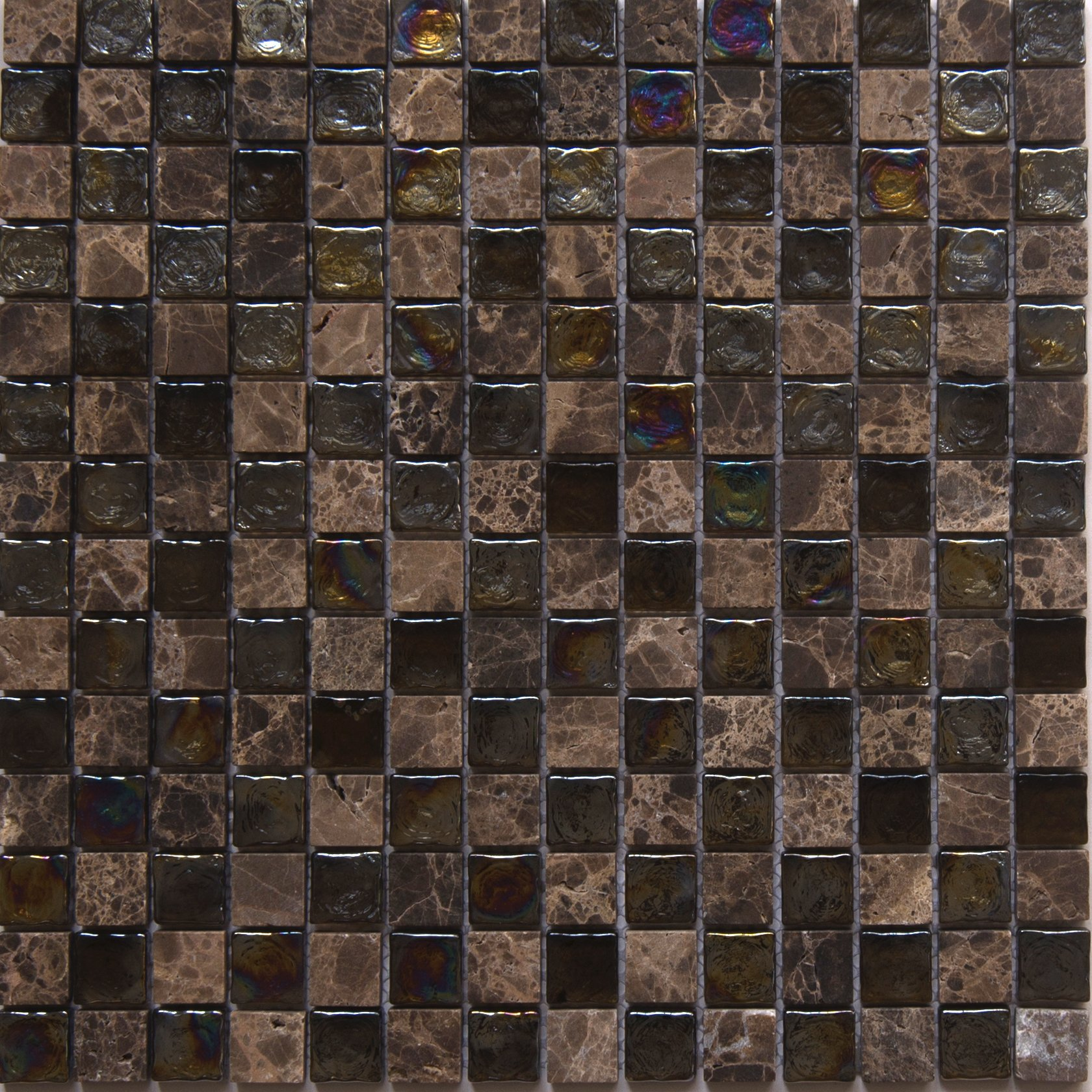 Glass and Stone Mosaic Tile, ''Mini Teseo Collection'', GM 6204 - Topaz, 3/4''X3/4'' Square, 12''X12'' (Box of 5 Sheets)