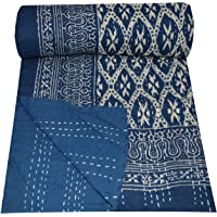 Yuvancrafts Indian Handmade Twin Kantha Quilt Hand Block Print Blue Color Kantha Throw Single Size Cotton Quilt Blanket Bedspread Throw Gudari
